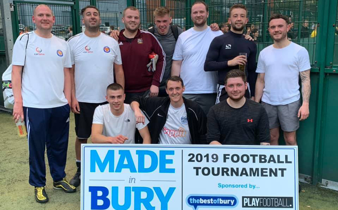 Main image for post: cartime lads have a ball at Made in Bury Football Tournament
